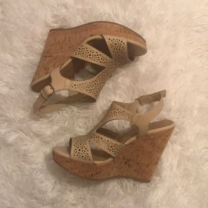 Delicious Taupe Cork Wedge Sandal